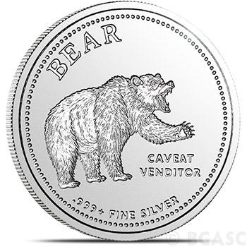 1 oz Bull/Bear Silver Rounds .999+ Fine Silver Bullion - Image