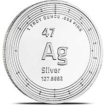 1 oz Silver Rounds Elemetal .999 Fine Silver Bullion