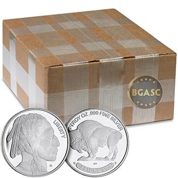 Monster Box of 1 oz Buffalo Silver Rounds .999 Fine Silver by Jet Bullion (500 Rounds)