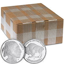 Monster Box of 1 oz Buffalo Silver Rounds .999 Fine Silver by Jet Bullion (500 Rounds)