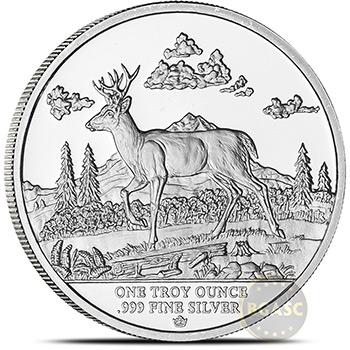 1 oz Silver Rounds Monarch Silver Buck .999 Fine Silver Bullion - Image