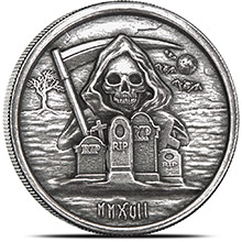 1 oz Silver Rounds Monarch Grim Reaper High Relief .999 Fine - Limited Edition