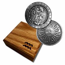 1 oz Silver AQUARIUS Zodiac Round .999 Fine in Wood Box
