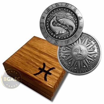 1 oz Silver PISCES Zodiac Round  999 Fine in Display Box