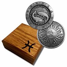 1 oz Silver PISCES Zodiac Round .999 Fine in Display Box