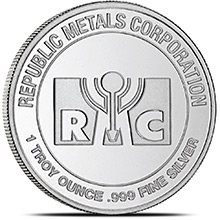 1 oz Silver Rounds Republic Metals RMC .999 Fine Silver Bullion