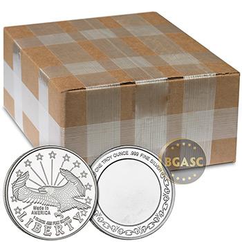 Monster Box of 1 oz SilverTowne Eagle Design Silver Rounds .999 Fine Bullion (500 Rounds)
