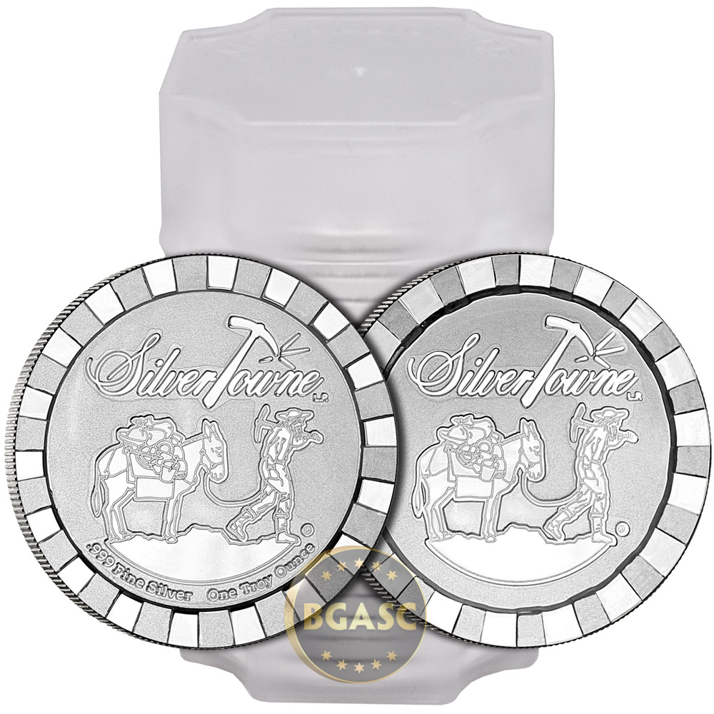 Where to buy silver - 1 Oz Silver Rounds Silvertowne Stacker 999 Fine Stackable Bullion Image