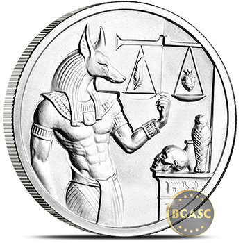 2 oz Silver Rounds Anubis Ultra High Relief .999 Fine Bullion