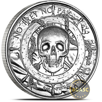 2 oz Silver Rounds Captain Privateer UHF Rounds P3 - Image