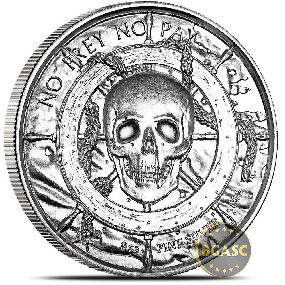 Buy 2 Oz Silver Rounds Captain Privateer Ultra High Relief