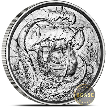 2 oz Silver Rounds Kraken Privateer Ultra High Relief Rounds .999 Fine Bullion (P4)
