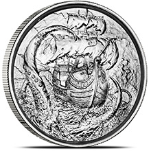 2 oz Silver Rounds Kraken Privateer Ultra High Relief Rounds .999 Fine Bullion (P4)