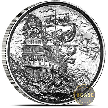 2 oz Silver Rounds Privateer Ultra High Relief Pirate Rounds .999 Fine Bullion (P1)