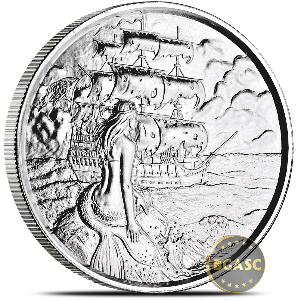 Buy 2 Oz Silver Rounds Siren Privateer Ultra High Relief