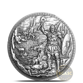 5 oz Silver Rounds Baby Dragon vs Vikings Ultra High Relief .999 Storytelling Round w/ Display Box