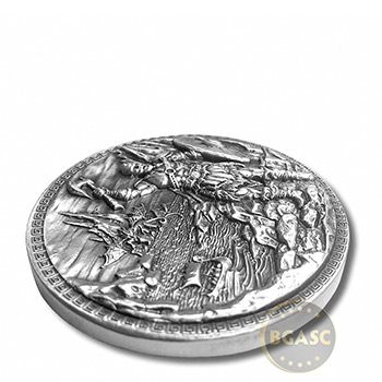 5 oz Silver Rounds Baby Dragon vs Vikings UHR Round with Box - Image