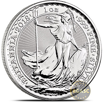 2018 1 oz Silver Britannia .999 Fine Silver Bullion Coin Brilliant Uncirculated