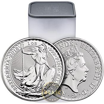 2018 1 oz Silver Britannia .999 Fine Silver Bullion Coin Brilliant Uncirculated - Image