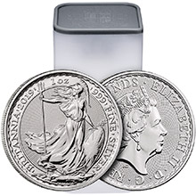 2019 1 oz Silver Britannias Unopened 25-Coin Roll Brilliant Uncirculated Bullion .999 Fine
