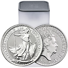 2020 1 oz Silver Britannias Unopened 25-Coin Roll Brilliant Uncirculated Bullion .999 Fine