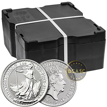 2020 1 oz Silver Britannias Unopened 25-Coin Roll Brilliant Uncirculated Bullion .999 Fine - Image