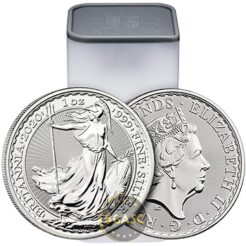 Mint Sealed Monster Box of 2020 1 oz Silver Britannia .999 Fine Silver BU 500 Coins - Image
