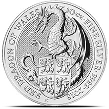 2018 10 oz Silver British Queen's Beasts Bullion Coin - The Dragon (in Capsule)