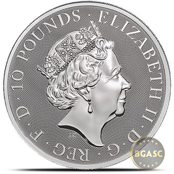 2018 10 oz Silver British Queen's Beasts Bullion Coin - The Griffin in Capsule - Image