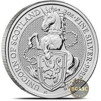 2018 2 oz Silver British Queen's Beasts Bullion Coin - The Unicorn of Scotland - Image