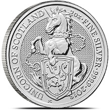 2018 2 oz Silver British Queen's Beasts Bullion Coin - The Unicorn of Scotland