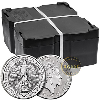 2019 2 oz Silver British Queen's Beasts Bullion Coin - The Falcon of the Plantagenets - Image