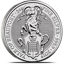 2019 2 oz Silver British Queen's Beasts Bullion Coin - The Yale of Beaufort