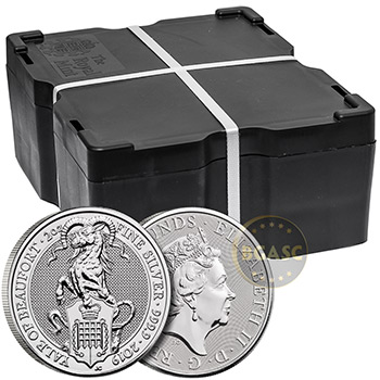 2019 2 oz Silver British Queen's Beasts Bullion Coin - The Yale of Beaufort - Image