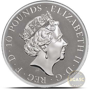 2020 10 oz Silver British Queen's Beasts Bullion Coin - The Falcon in Capsule - Image
