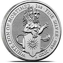 2020 2 oz Silver British Queen's Beasts Bullion Coin - The White Lion of Mortimer