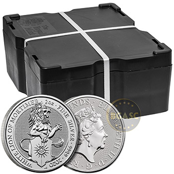 2 oz Silver British Queen's Beasts Bullion Coin - The White Lion of Mortimer - Image