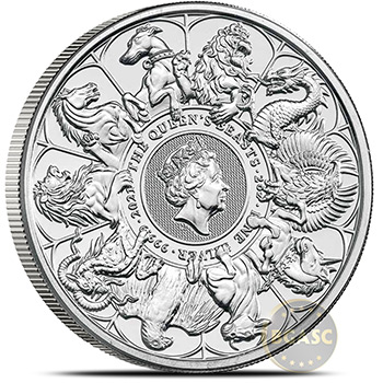 2021 2 oz Silver British Queen's Beasts Bullion Coin - Series Completer