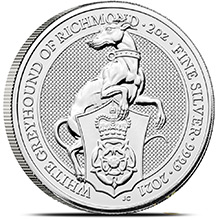 2021 2 oz Silver British Queen's Beasts Bullion Coin - The White Greyhound of Richmond