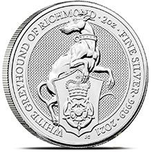 2021 2 oz Silver British Queen's Beasts Bullion Coin - The White Greyhound of Richmond