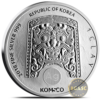 2018 1 oz South Korean Silver Chiwoo Cheonwang .999 Fine BU - Image