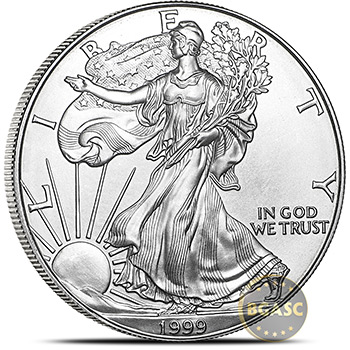 1999 1 oz American Silver Eagles Coin Uncirculated Bullion .999 Fine Silver Dollar - Image