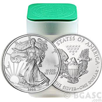 2008 1 oz American Silver Eagles Coin Uncirculated Bullion .999 Fine Silver Dollar - Image