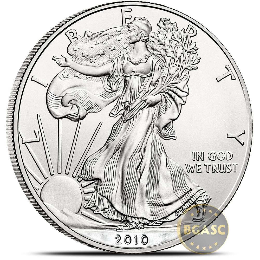 1 Troy Oz .999 Fine Silver 2010 American Silver Eagle Bullion Coin