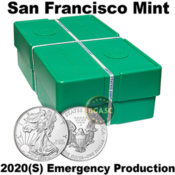 Mint Sealed Monster Box of 2020-(S) 1 oz American Silver Eagles 500 Bullion Coins - San Francisco Mint, Emergency Production