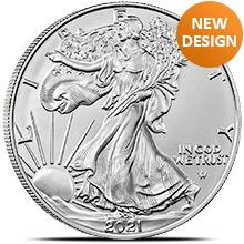 2021 1 oz American Silver Eagle Bullion Coin .999 Fine Brilliant Uncirculated - Type 2, New Design