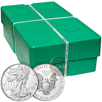 Mint Sealed Monster Box of 2021 1 oz American Silver Eagles 500 Bullion Coins Brilliant Uncirculated - Type 1