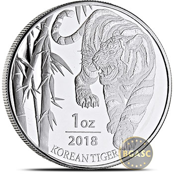 2018 1 oz South Korean Silver Tiger Medal .999 Fine (in Capsule)