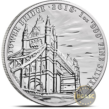 2018 Tower Bridge 1 oz Silver Landmarks of Britain Coin .999 Fine Brilliant Uncirculated