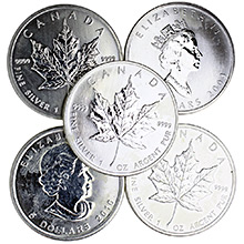1 oz Canadian Silver Maple Leaf Bullion Coin .9999 Fine - Circulated (Random Year)